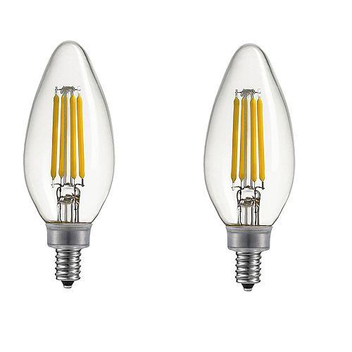 Globe Electric Ampoule DEL à petit culot E12 à int. var. B11, équival. de 40 W, 2 700 K, blanc chaud, ens. de 2