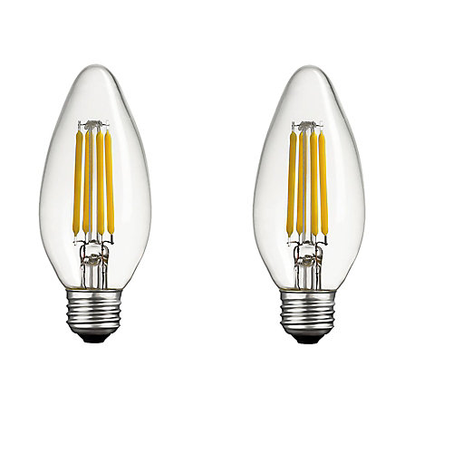 40W Equivalent Daylight (5000K) B11 Dimmable Candelabra  LED Light Bulb with E26 Base (2-Pack)