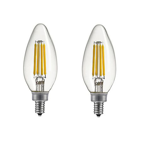 40W Equivalent Daylight (5000K) B11 Dimmable Candelabra  LED Light Bulb with E12 Base (2-Pack)