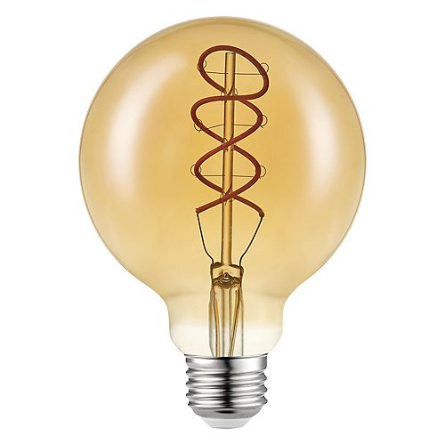 60W Equivalent Sunset Glow (2000K) G30 Flexible Filament Dimmable Amber Vintage Edison LED Bulb