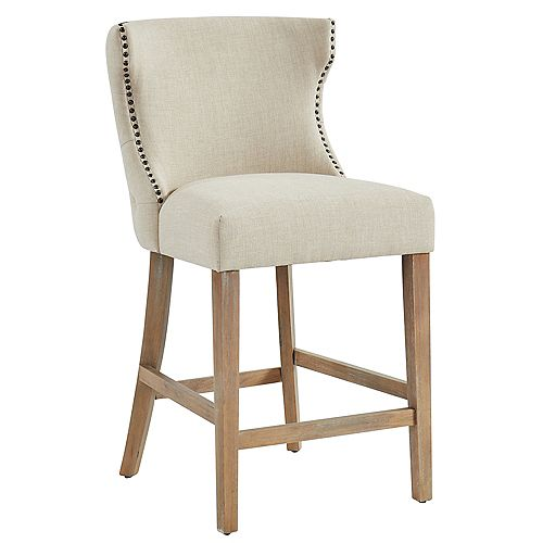 Parker-26'' Counter Stool-Beige/Oak Leg (Set Of 2)