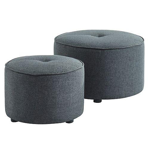 Etro jeu de 2 ottomanes ronds, gris