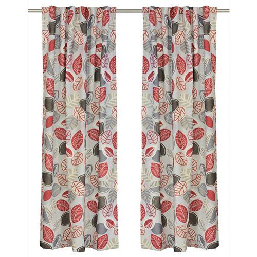 Shelly de 2 rideaux à motifs floraux avec des ganses cachées, 54 x88 po, gris/rouge/brun/ivoire