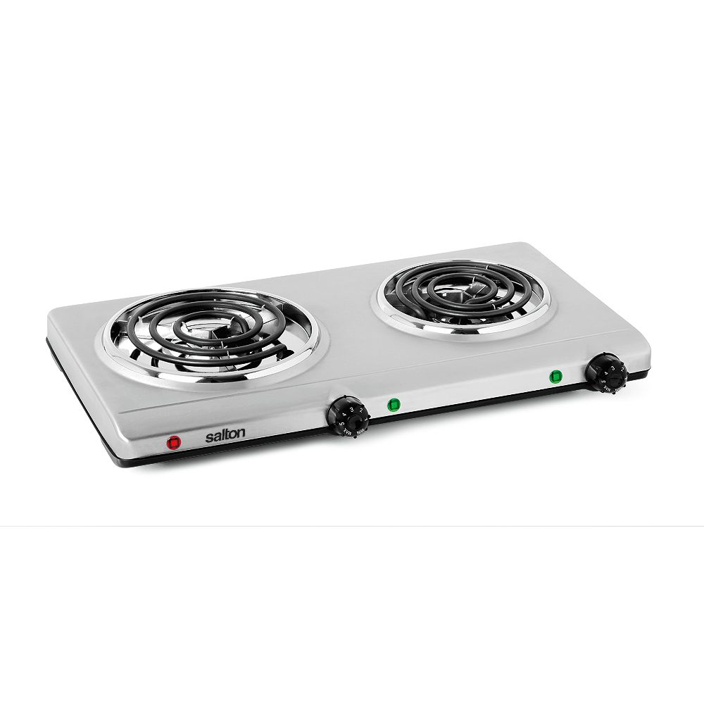 Salton Portable Double Cooktop  - Stainless Steel