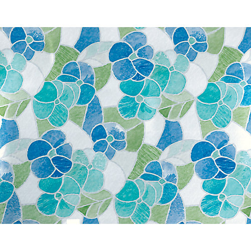 Home Décor Self Adhesive Film 17 inch x 78 inch Stained Glass Green/Blue - 2 Pack