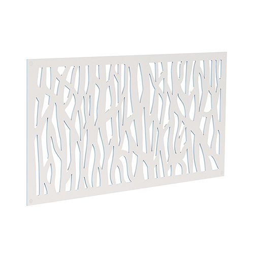 Decorative screen panel 2x4 - sprig - white