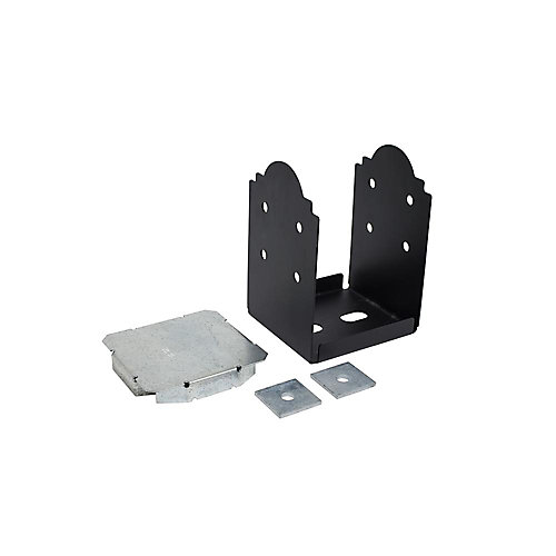 Outdoor Accents ZMAX Galvanized, Black Powder-Coated Post Base for 8x8 Rough