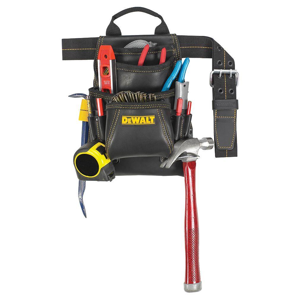 DEWALT Sac à outils et à clous de menuisier en cuir à 10 compartiments