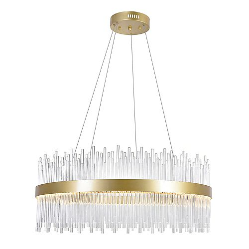 32 inch LED Chandelier with Medallion Gold Finish From our Genevieve Collection