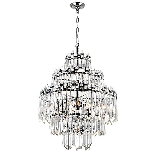 CWI Lighting 28 inch 15 Light Chandelier with Chrome Finish From our Henrietta Collection