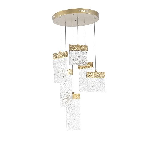 CWI Lighting 16 inch LED Chandelier with Gold Leaf Finish From our Carolina Collection