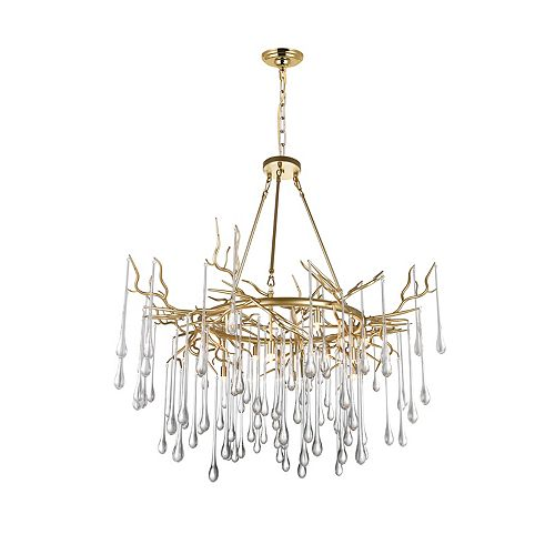 CWI Lighting 43 inch 12 Light Chandelier with Gold Leaf Finish From our Anita Collection