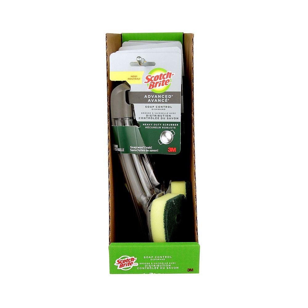 Scotch-Brite Soap Control Heavy Duty Dishwand 651U-6-RRP, Yellow/Green, 1/Pack