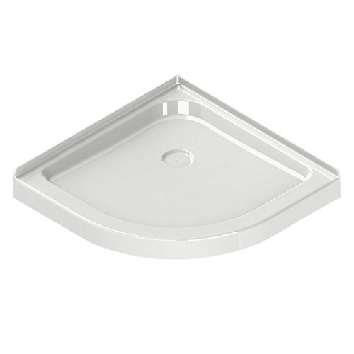 Corner Neo-Round Base 40-inch x 40-inch x 3-inch Centre Drain in White
