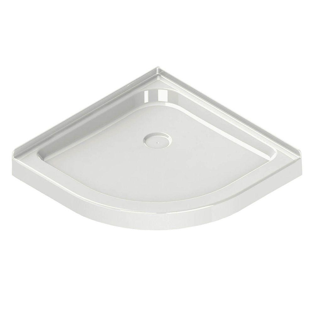 MAAX Corner Neo-Round Base 40-inch x 40-inch x 3-inch Centre Drain in White