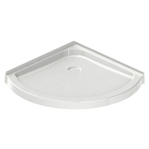 Corner Round Base 36-inch x 36-inch x 3-inch Centre Drain in White