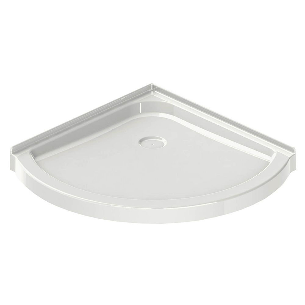 MAAX Corner Round Base 36-inch x 36-inch x 3-inch Centre Drain in White