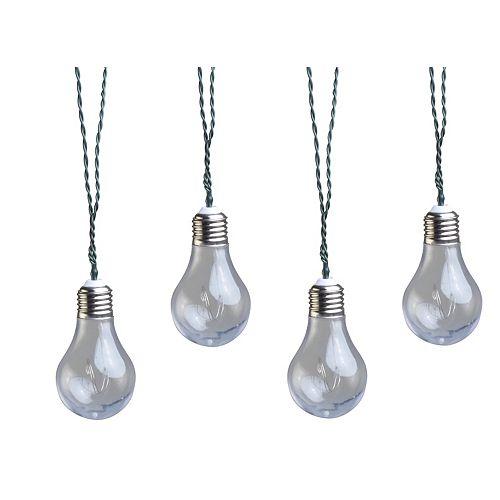 10-Light 4.5M (15 ft) Solar Powered Integrated LED Clear Vintage Bulb String Lights