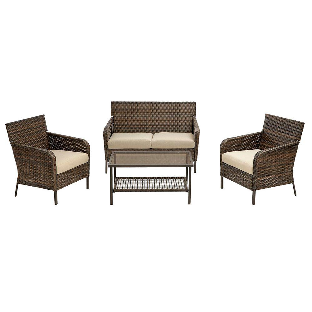 Hampton Bay Gableton 4pc Steel Outdoor Patio Wicker Conversation Set with Beige Cushions