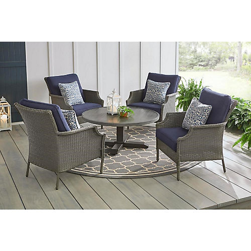 Grayson 5-Piece Wicker Patio Conversation Set in Ash Grey with Midnight Blue Cushions