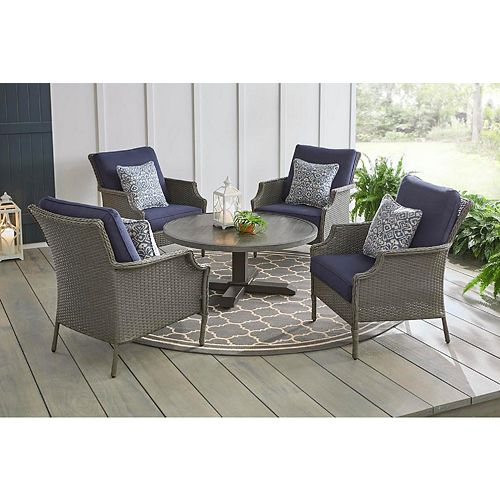 Hampton Bay Grayson 5pc Ash Gray Wicker Outdoor Patio Conversation Seating Set with Blue Cushions