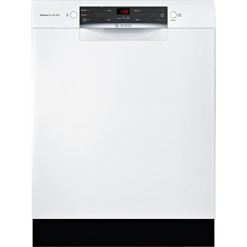 Bosch 300 Series 24-inch Front Control Dishwasher in White, 46 dBA ENERGY STAR®