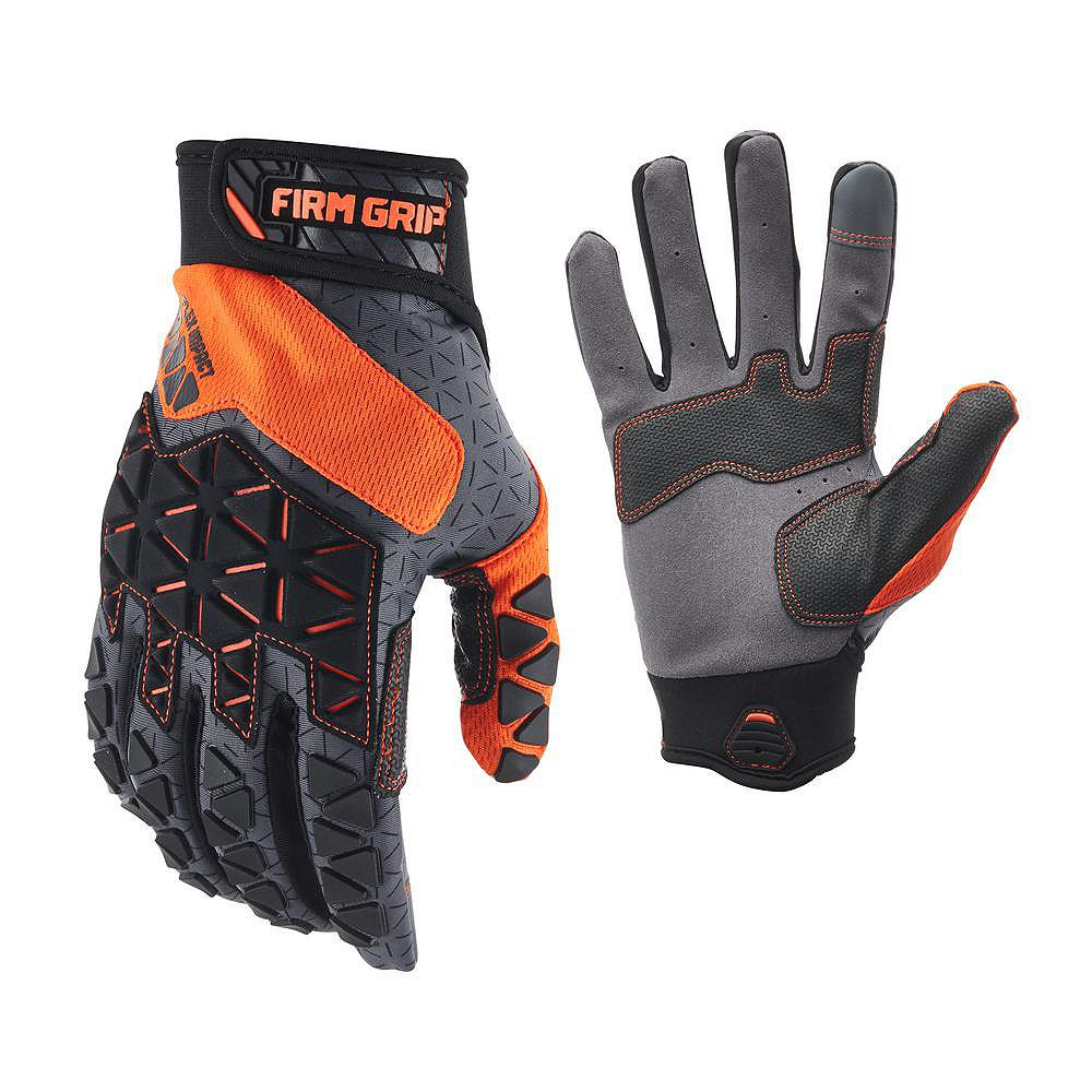 Firm Grip Pro-Fit Flex Impact Work Gloves with Touchscreen Fingertips (Large)