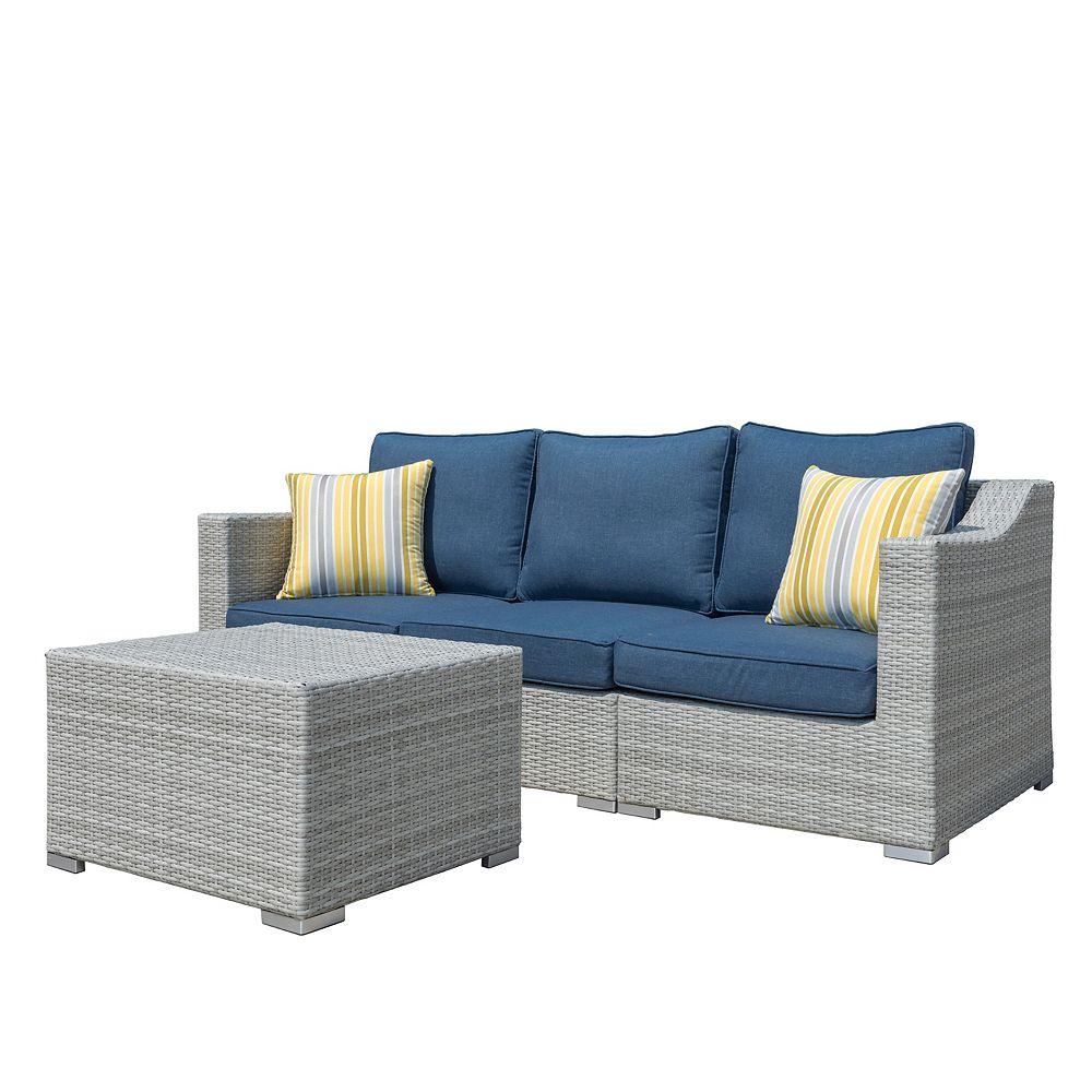 Sirio Kavala 4-Piece Hand-Woven Resin Wicker Patio Sofa Set with Denim Blue Cushions