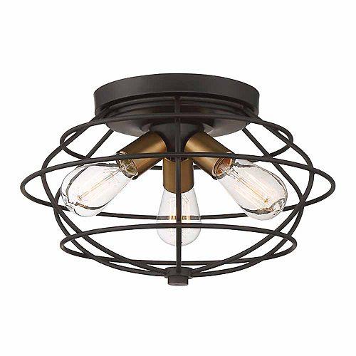 Plafonnier à 3 lampes, fini bronze