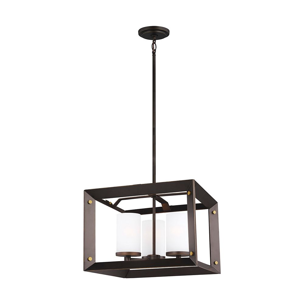 Sea Gull Lighting Chatauqua 3-Light Antique Bronze Chandelier with Etched and White Inside Glass - Energy Star