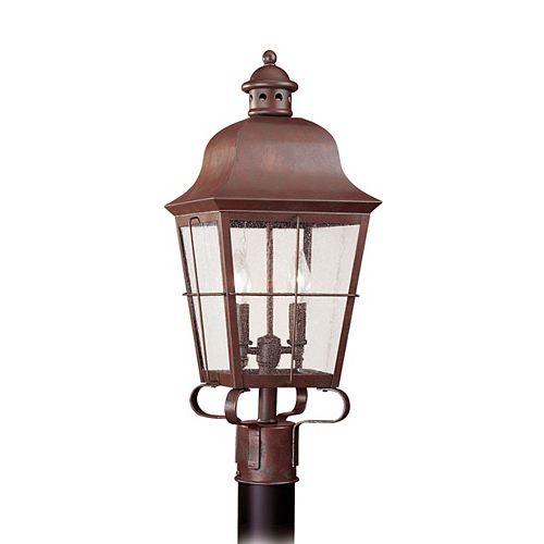 Pilier monture lumière Chatham à deux ampoules avec abat-jour clair, finition de spécialité