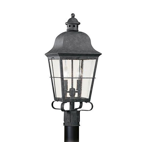 Pilier monture lumière Chatham à deux ampoules avec abat-jour clair, Fini bronze