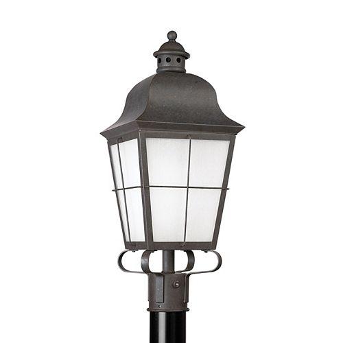 Pilier monture lumière Chatham à une ampoule avec abat-jour givré, Fini bronze
