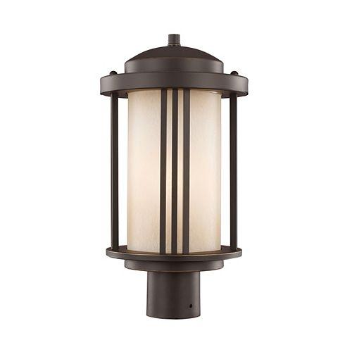 Pilier monture lumière Crowell à une ampoule avec abat-jour blanc, Fini bronze - Energy Star