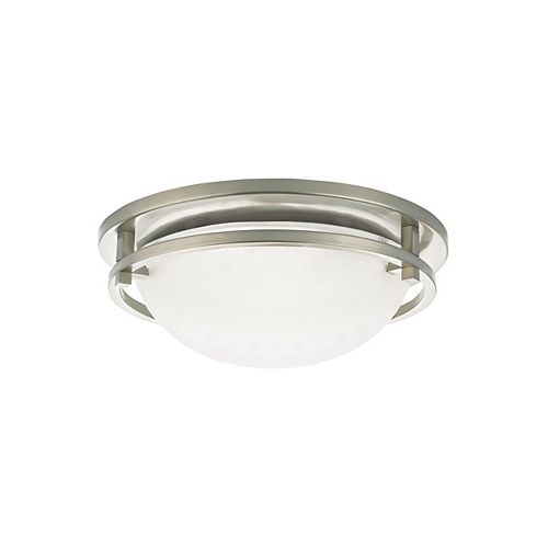 Eternity 2-Light Brushed Nickel Flush Mount with Satin Etched Glass Diffuser - Energy Star