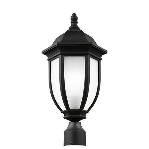 Pilier monture lumière Galvyn à une ampoule avec abat-jour givré, Fini noir