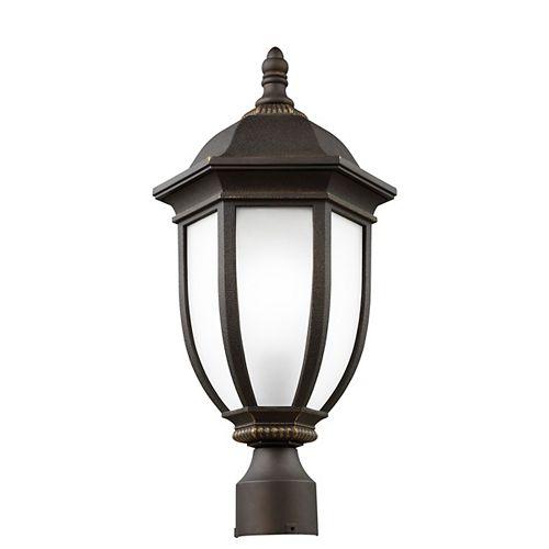 Pilier monture lumière Galvyn à une ampoule avec abat-jour blanc, Fini bronze - Energy Star