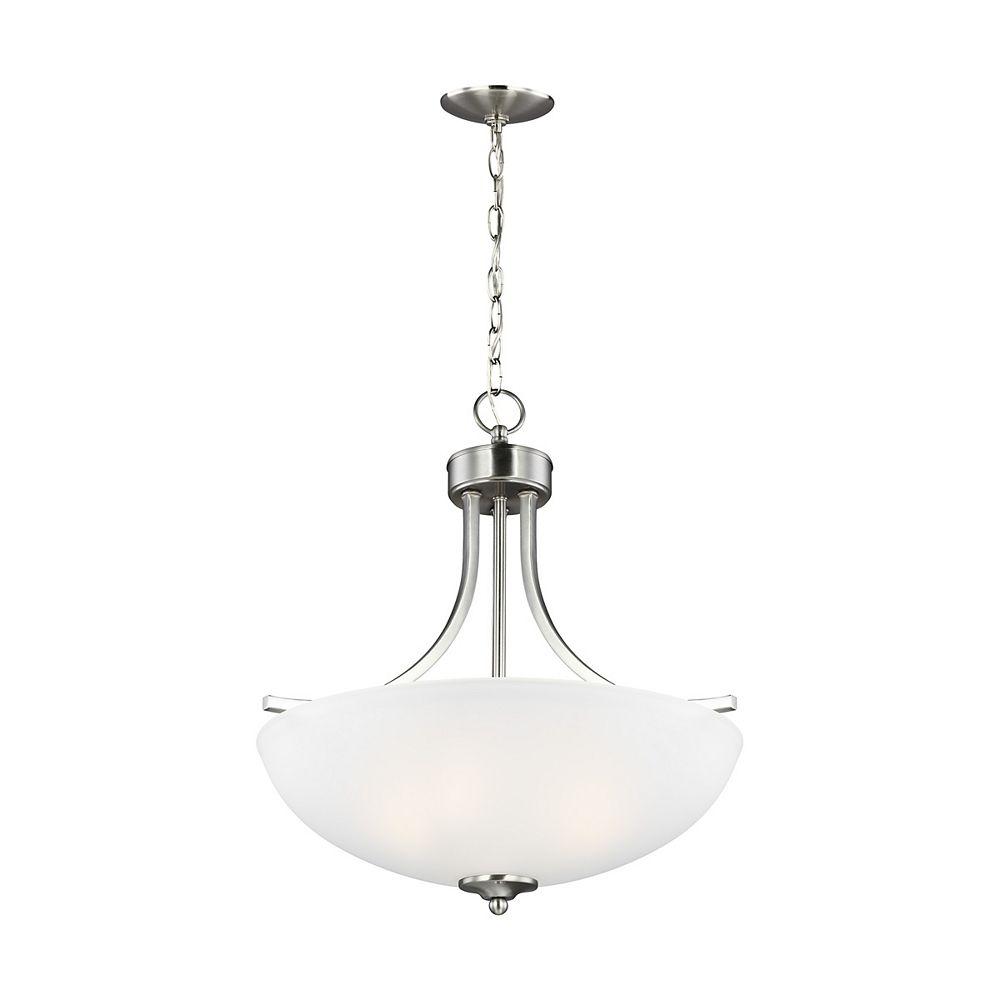 Sea Gull Lighting Lustre Geary à trois ampoules avec abat-jour blanc, Fini argent - Energy Star, 18.625 inches