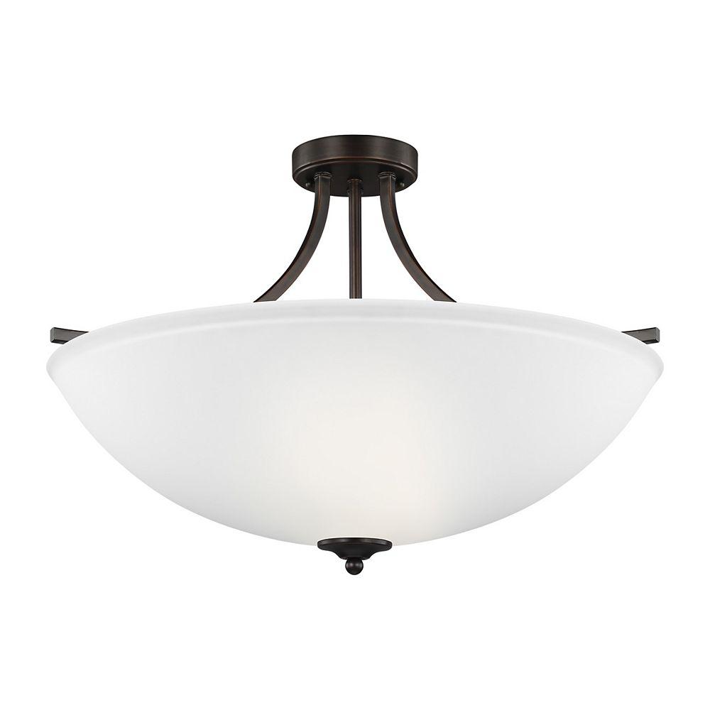 Sea Gull Lighting Lustre Geary à quatre ampoules avec abat-jour blanc, finition de spécialité - Energy Star