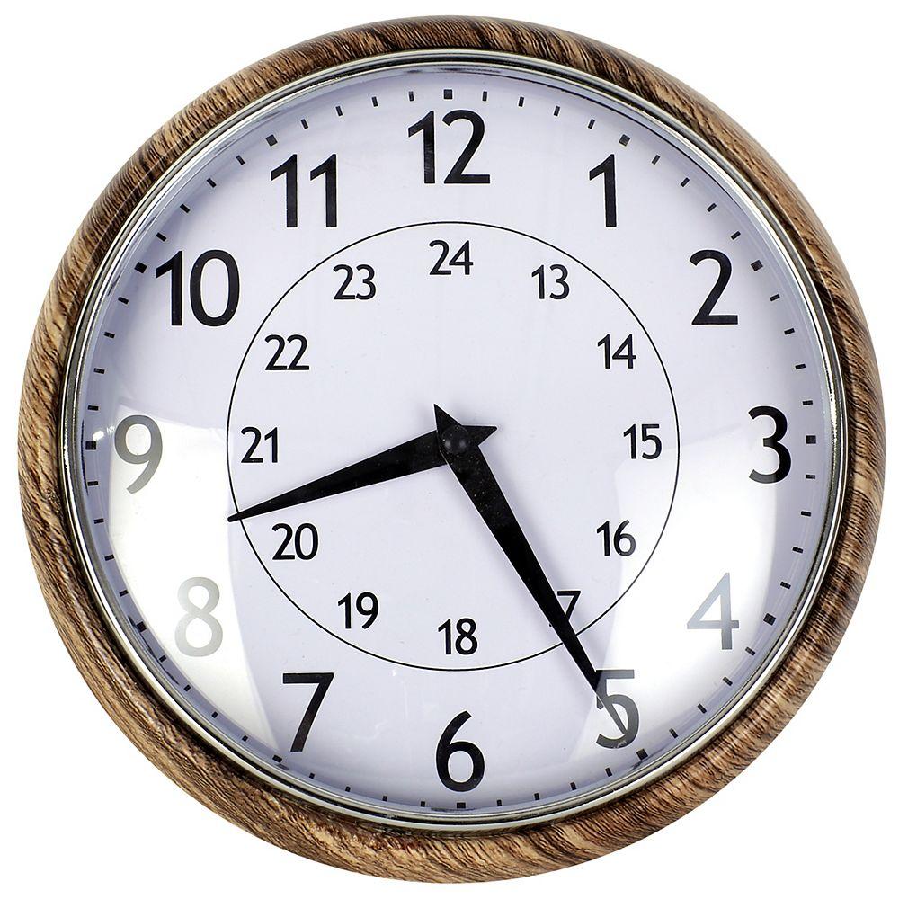 ArtMaison Canada Classic Circular Metal, Convex Glass Quartz Clock-Dia:9.5inches-Brown-Ready to hang