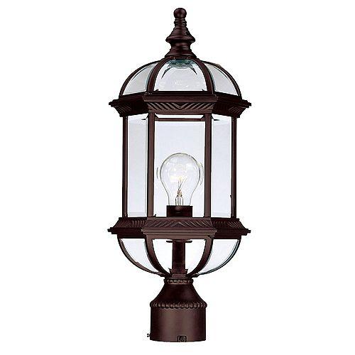 Tête de Lanterne de Poteau extérieur 1 ampoule en fini ronce de noyer -Dover