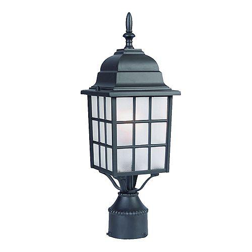 Nautica Lanterne de Poteau extérieur à 1 ampoule en fini noir mat