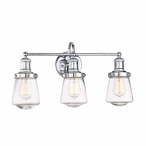 Incandescent 3-light Bath LightChrome Finish, Clear Glass, Bulb not included
