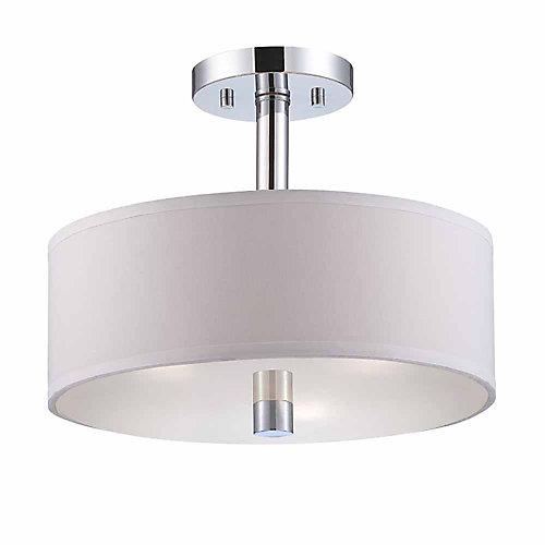 Semi-plafonnier à 3 lampes, fini chrome