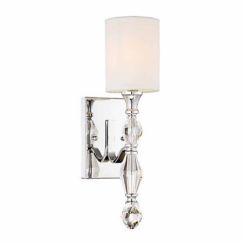 12in incandescent 1-light Wall Sconce, chrome finish