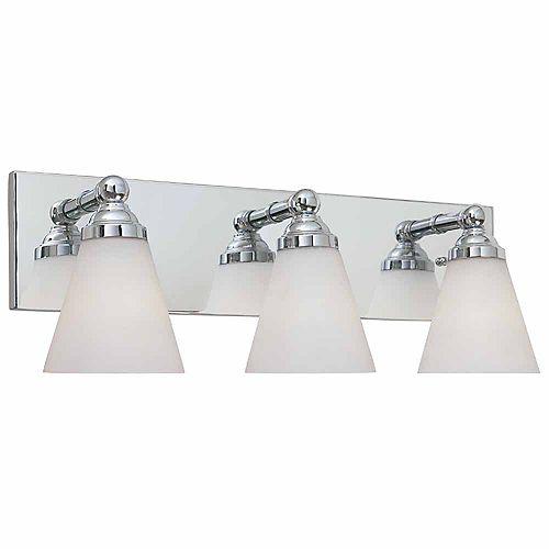 Luminaire de salle de bain à 3 lampes à incandescence, fini chrome
