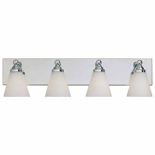 Luminaire de salle de bain à 4 lampes à incandescence, fini chrome