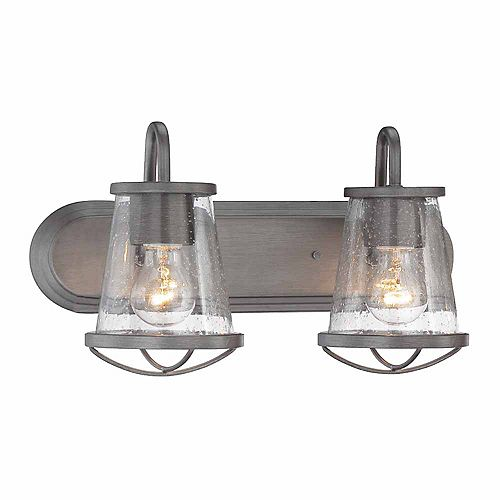 Luminaire de salle de bain à 2 lampes à incandescence, fini fer vieilli