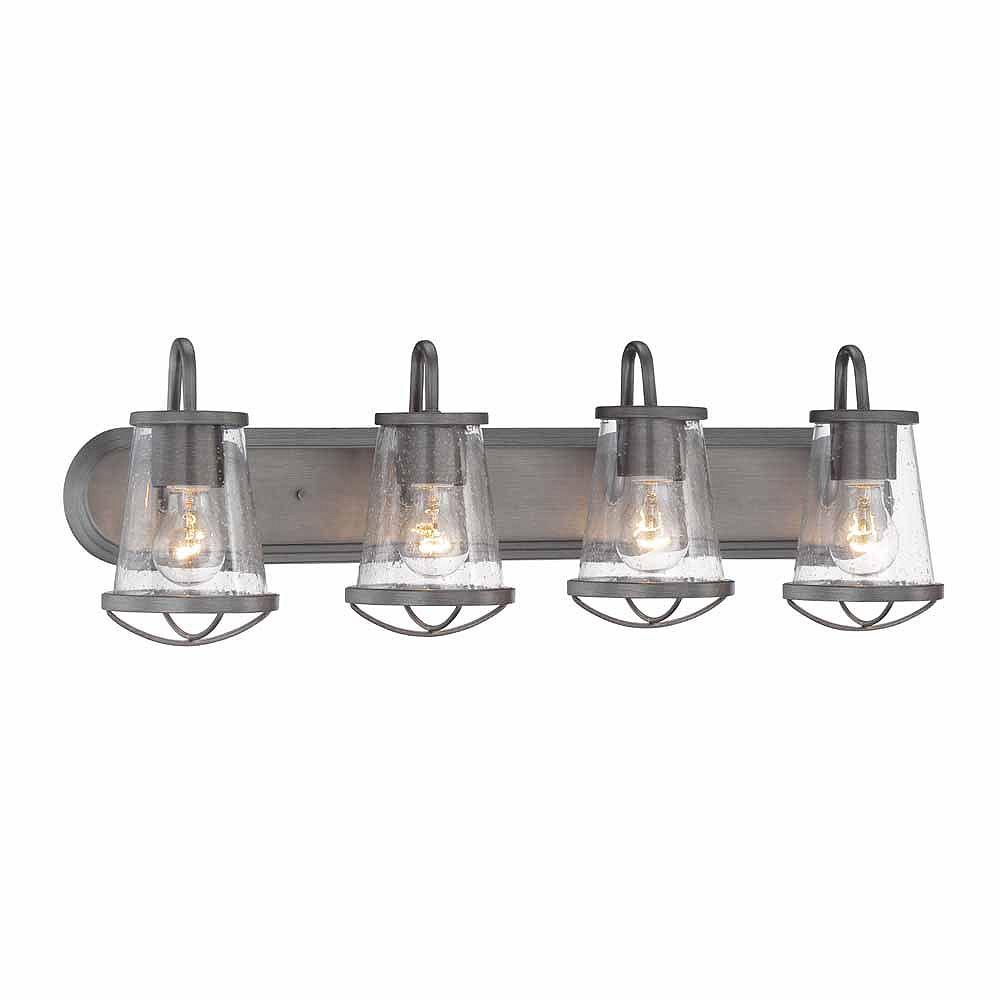 Designers Fountain Luminaire de salle de bain à 4 lampes à incandescence, fini fer vieilli
