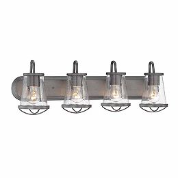 Luminaire de salle de bain à 4 lampes à incandescence, fini fer vieilli